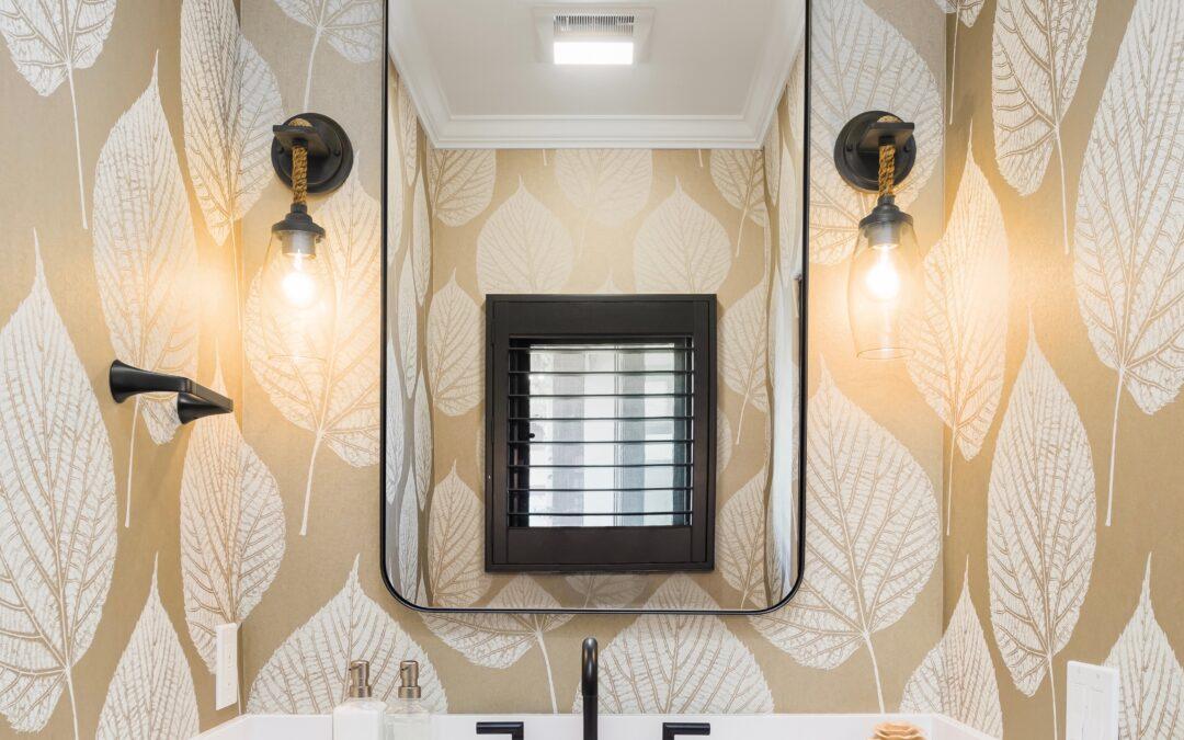 Gold Leaf Wallpaper Powder Room
