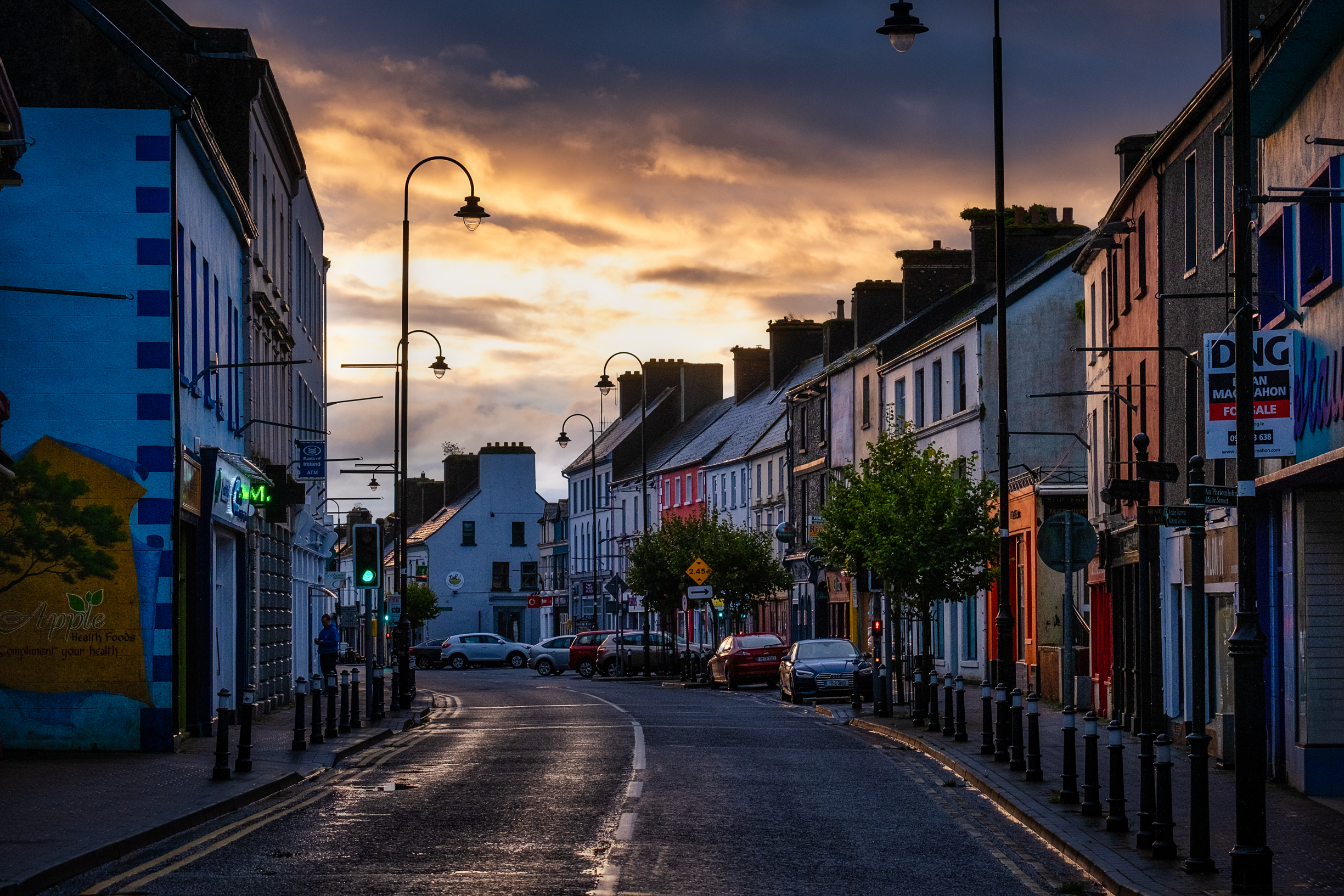 Dawn on street Loughrea