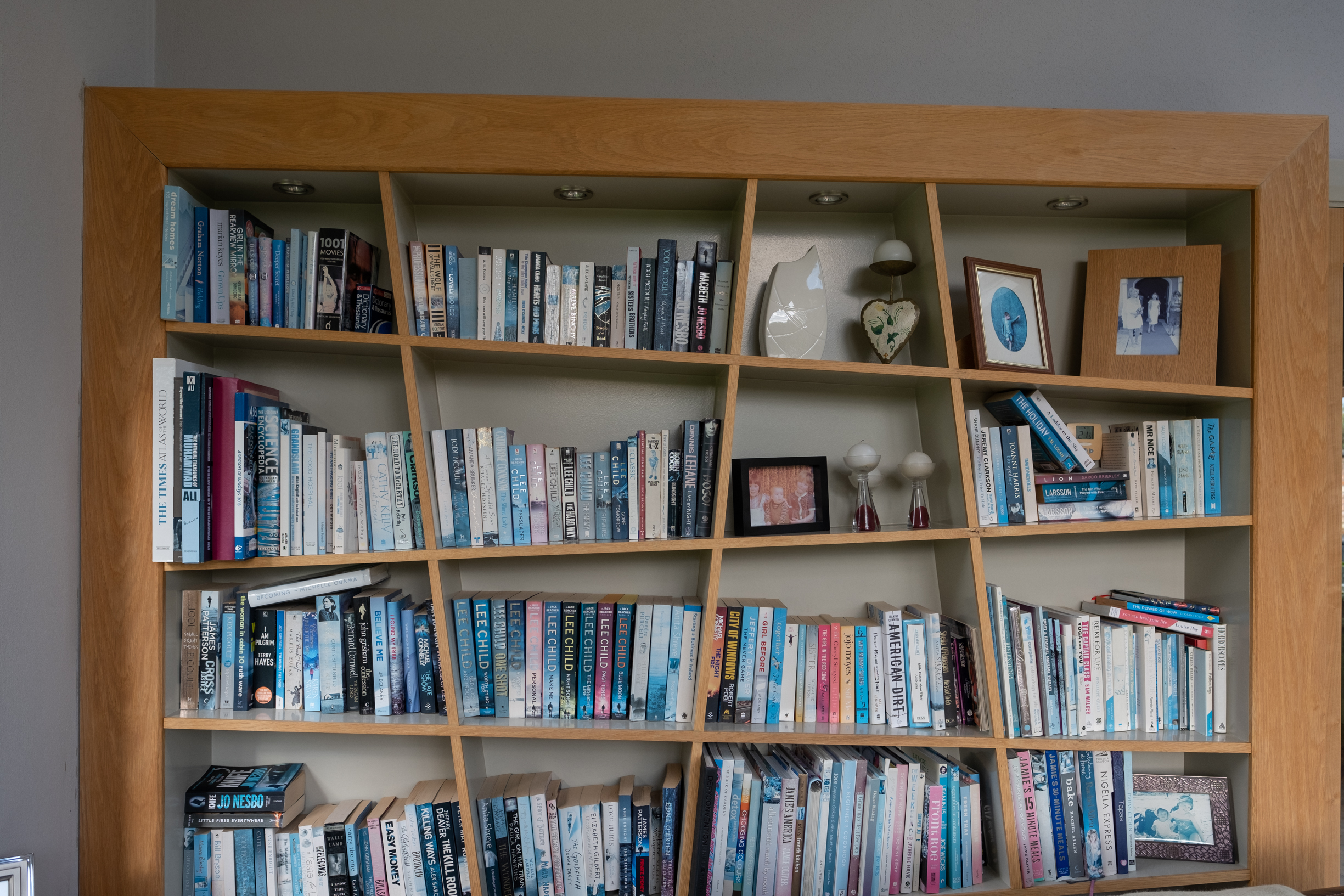 A cool bookcase with slanted shelves