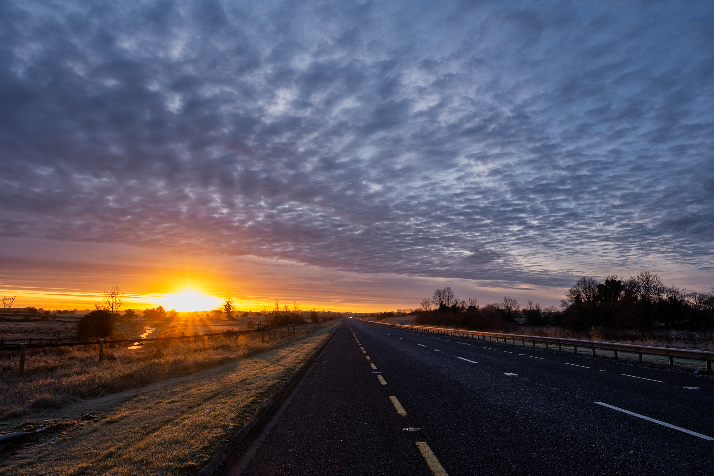 sunrise on link road to loughrea