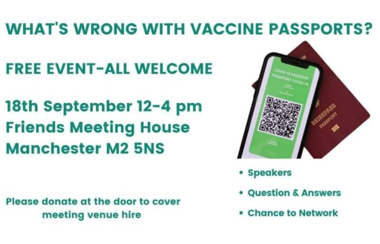 What's wrong with vaccine passports? Free event in Manchester on 18 September