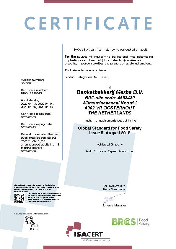 Certificate BRC MERBA 2020 EN valid till 23-03-2021