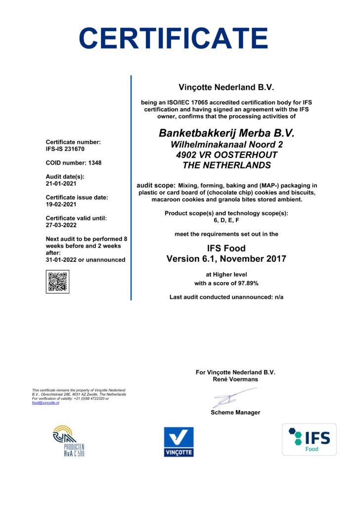 Certificate IFS Merba 2021 valid until 27-03-2022