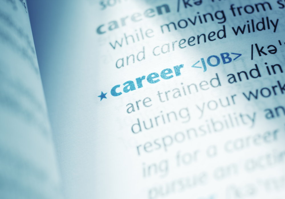 career - dictionary page with definition blurred by light