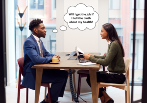 black african man sitting an interview with an asian woman, thinking about disclosing a health problem