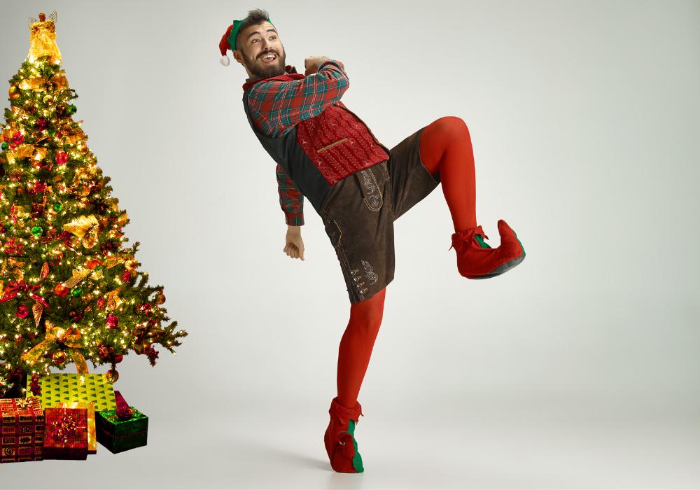 Christmas elf and Christmas tree
