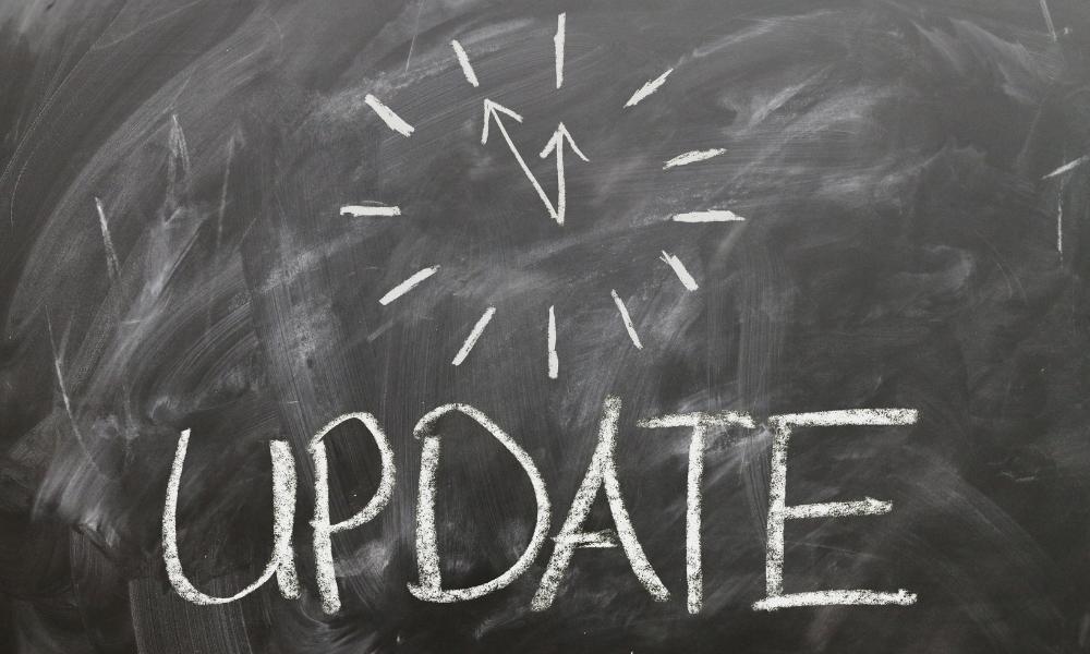 'update' written on a chalkboard