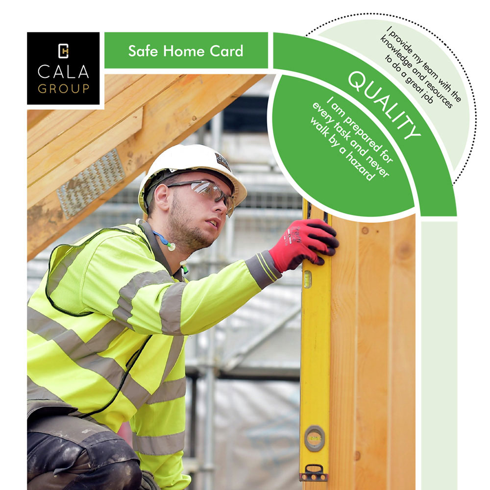 cala homes - 'One team, one goal, safe home' safety branding