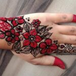 Arabic Black/Red fingertip mehndi design