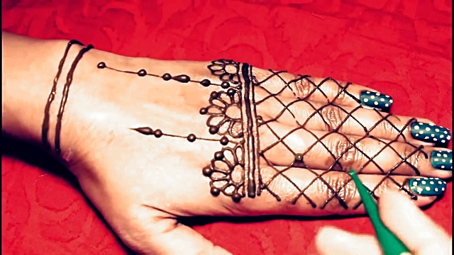 Jewellery mehndi design for back hand