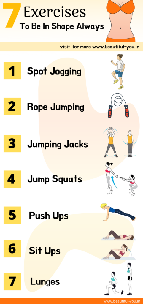 Best Home Exercise To be Fit and Well Shaped Info-graphics