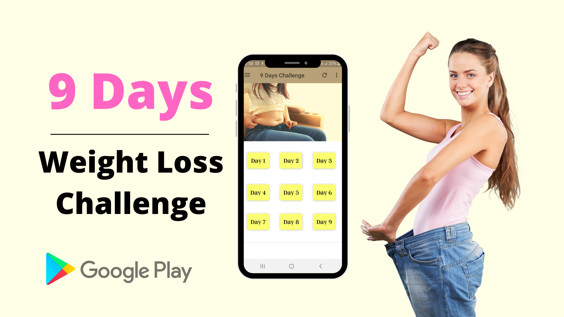 Weight Loss Challenge App: Get 9 Days Workout and Diet Plan