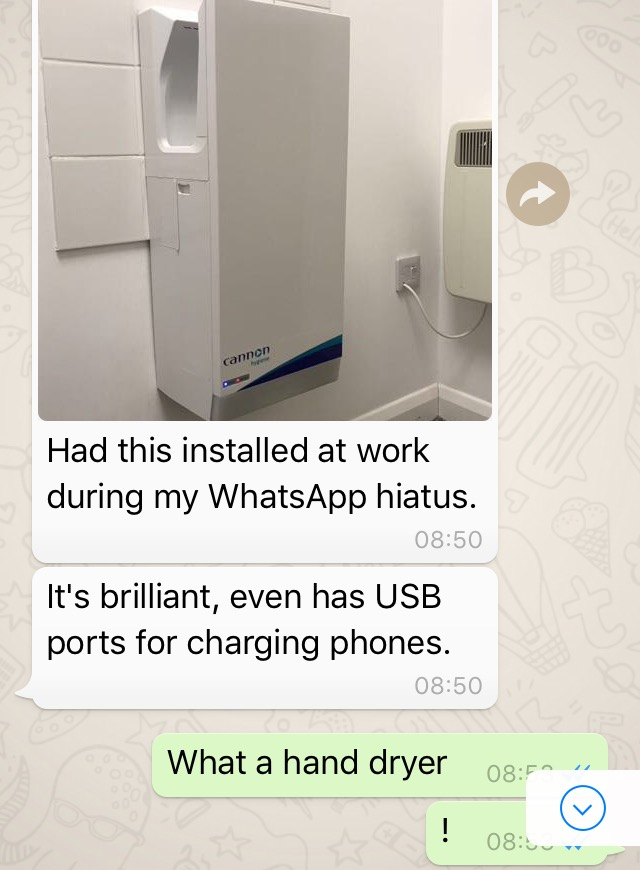 Charge your phone on a hand dryer? USB joking