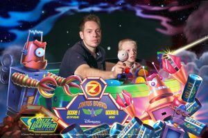 Father and Son on Buzz Lightyear Tomb Blast