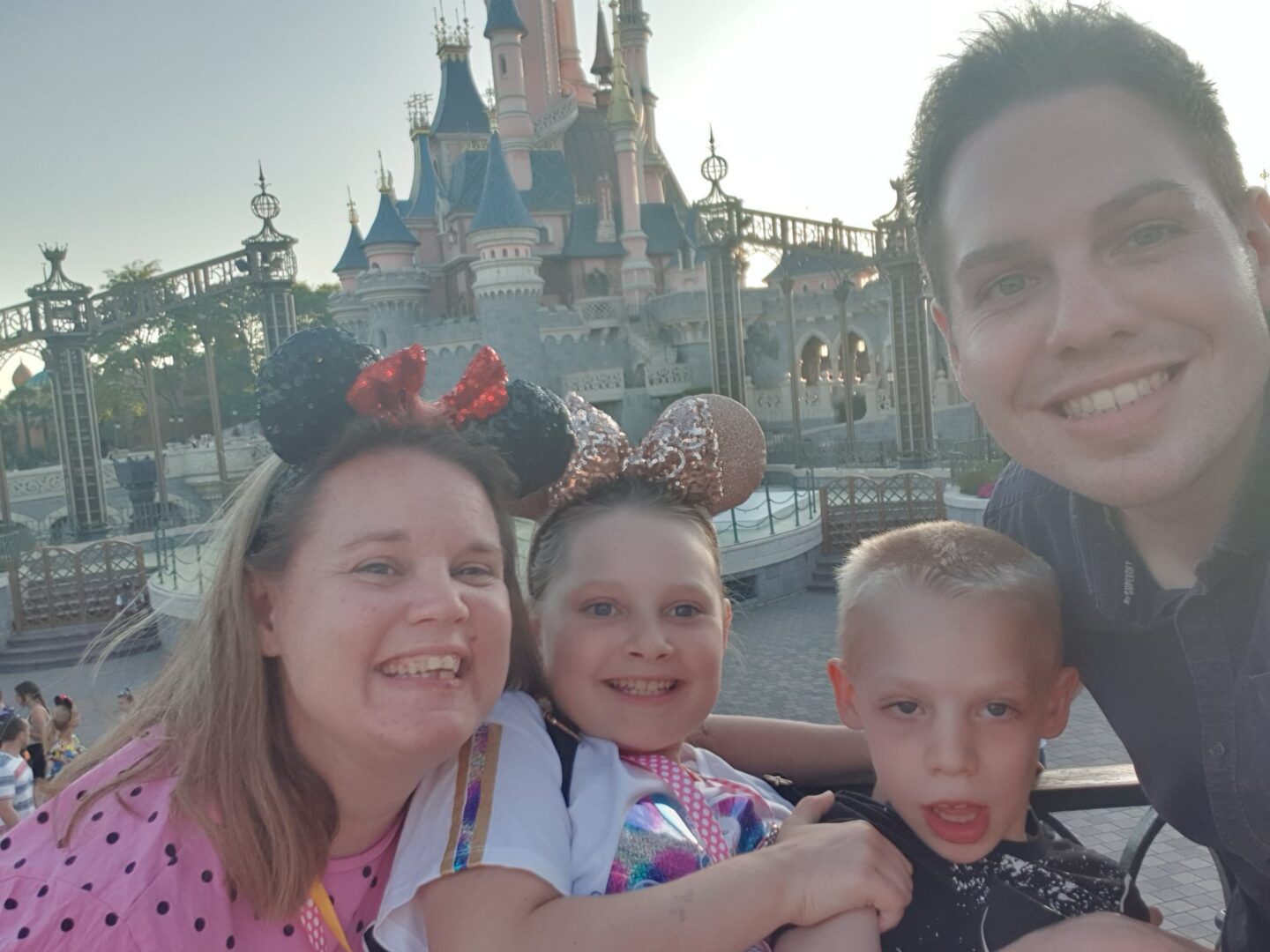 Family Selfie in front of the castle