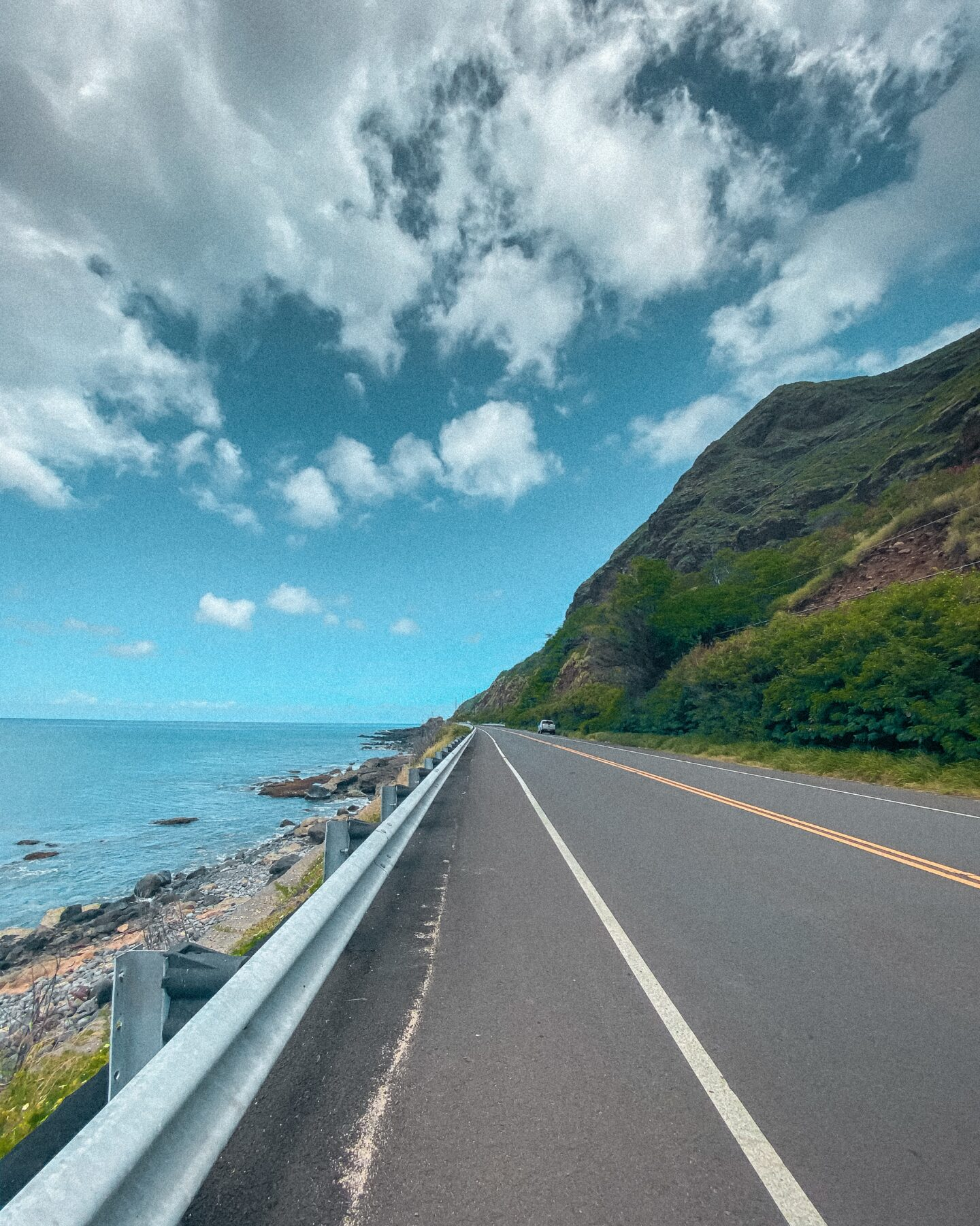 Road with sky and sea
