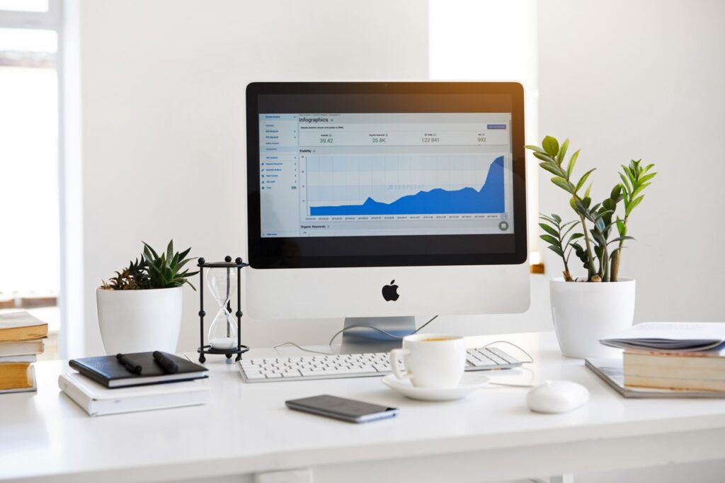 investment growth on a screen