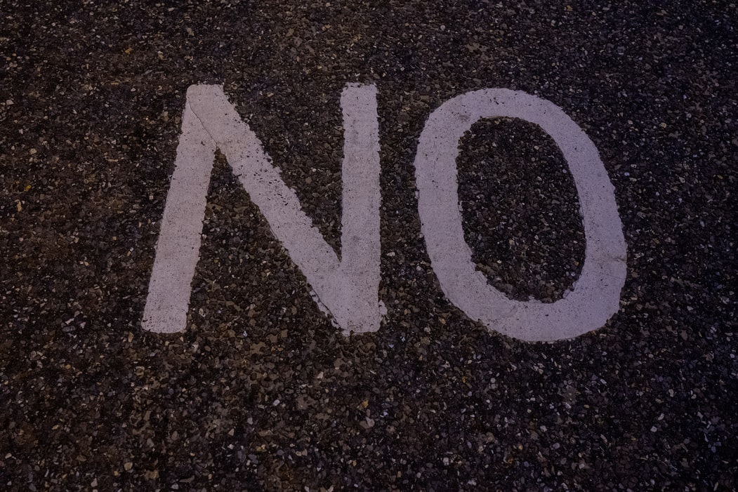 'NO' painted on the ground