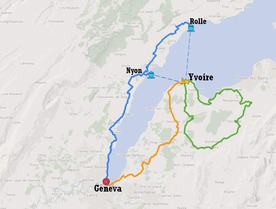 Map of the bike tour itinerary - A Short Escape from Geneva