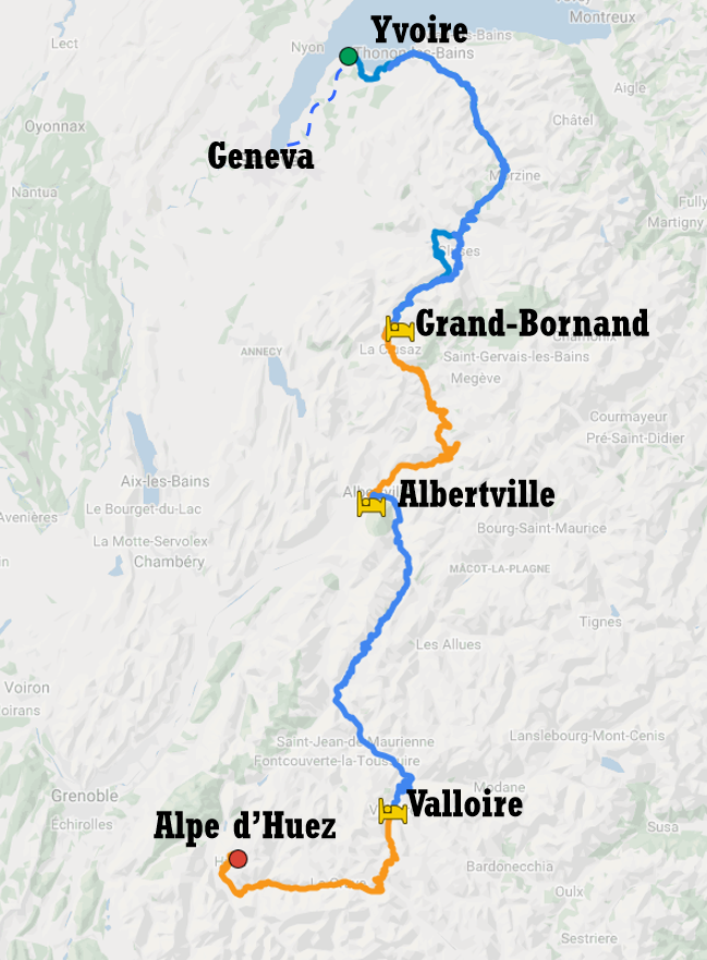 Cycle tour itinerary from Geneva to Alpe d'Huez via some famous climbs