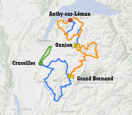 Map of the Upper French Alps tour