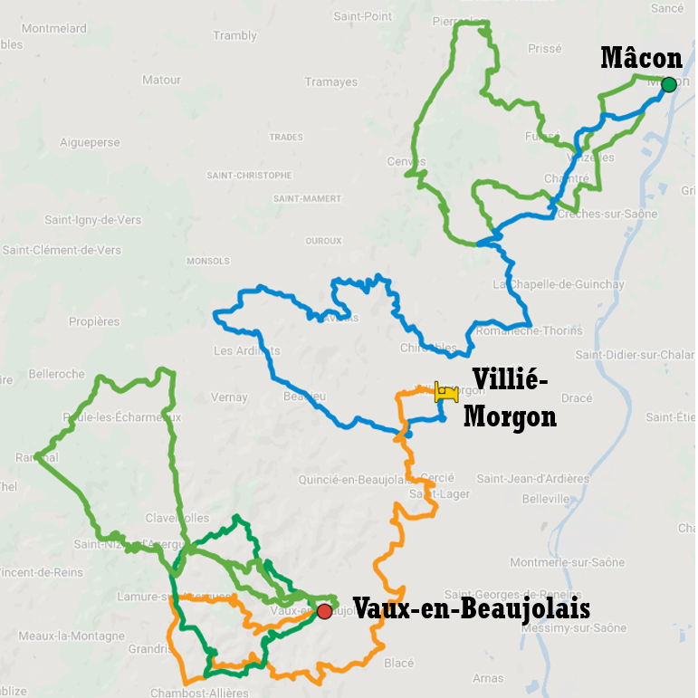 Map of cycle tour itinerary for a short escape in Beaujolais