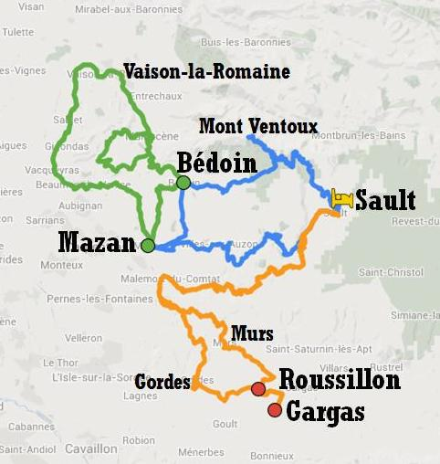 Map of cycle tour itinerary between Ventoux and Luberon