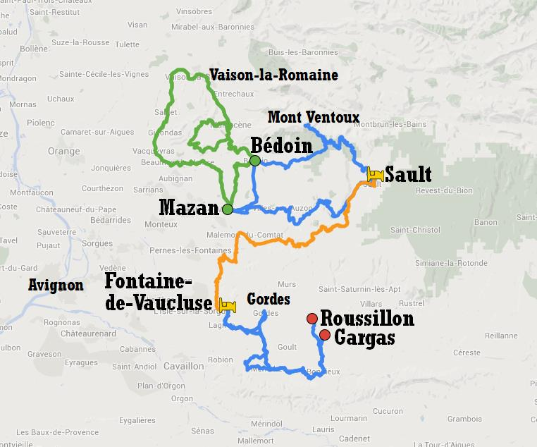 Cycle tour itinerary in Provence from Bédoin to Gargas