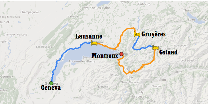 Map of bike tour itinerary from Geneva to Montreux