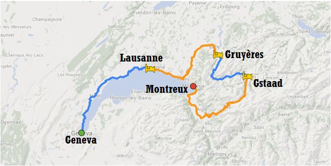 Carte de l'itinéraire de Geneve à Montreux à vélo
