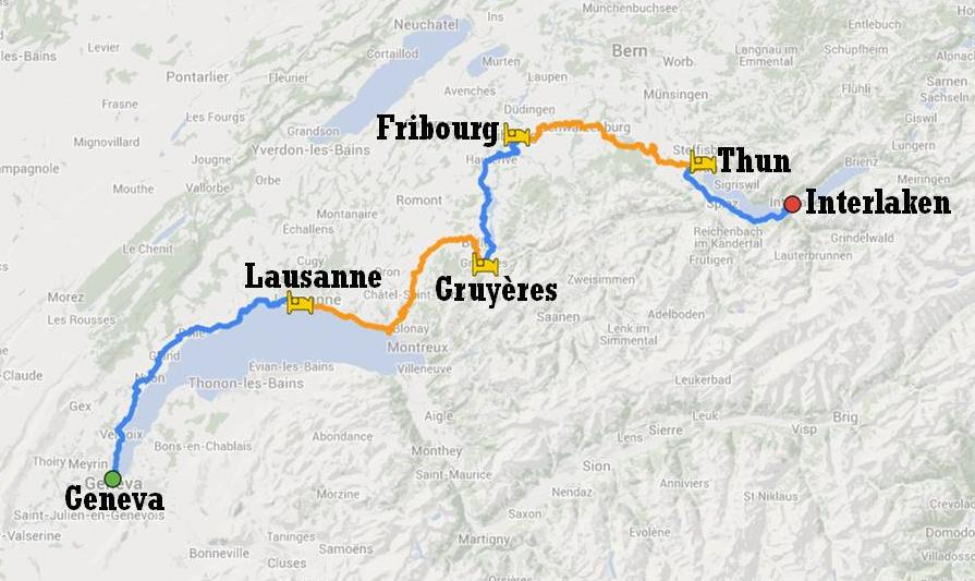 Itinerary of bike tour in Switzerland from Geneva to Interlaken