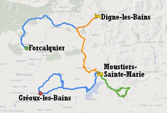 Map of cycle tour itinerary Cycling through Lavender