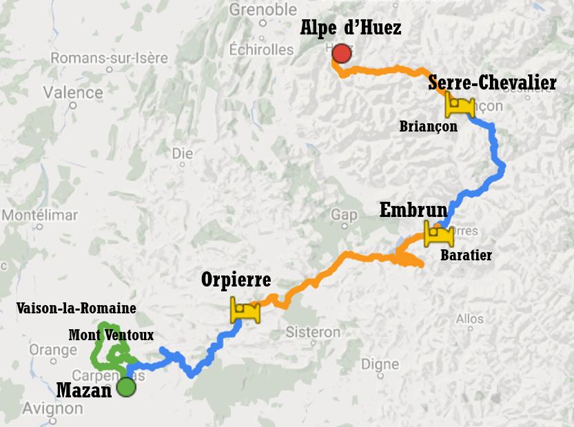 Carte de l'itinéraire ç vélo du Mont Ventoux à l'Alpe d'Huez