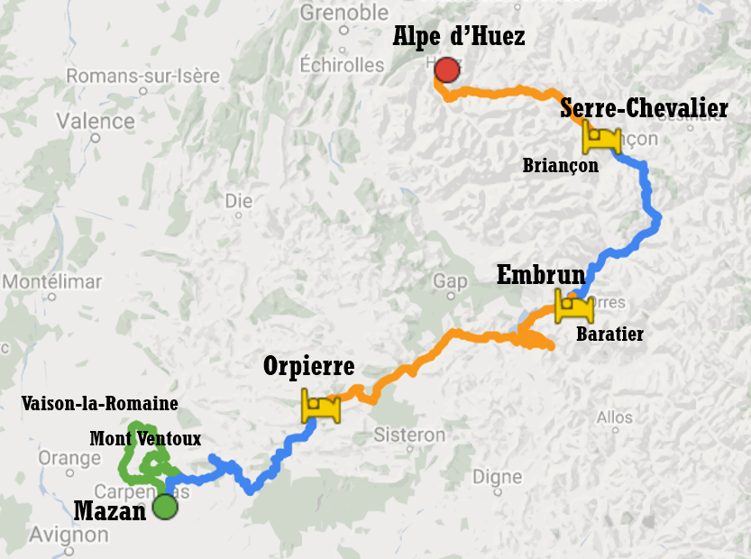 Map of cycle tour itinerary between Ventoux and Alpe d'Huez