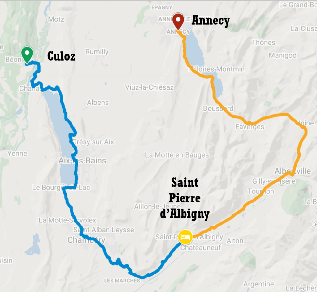 Tour itinerary map from Culoz to Annecy