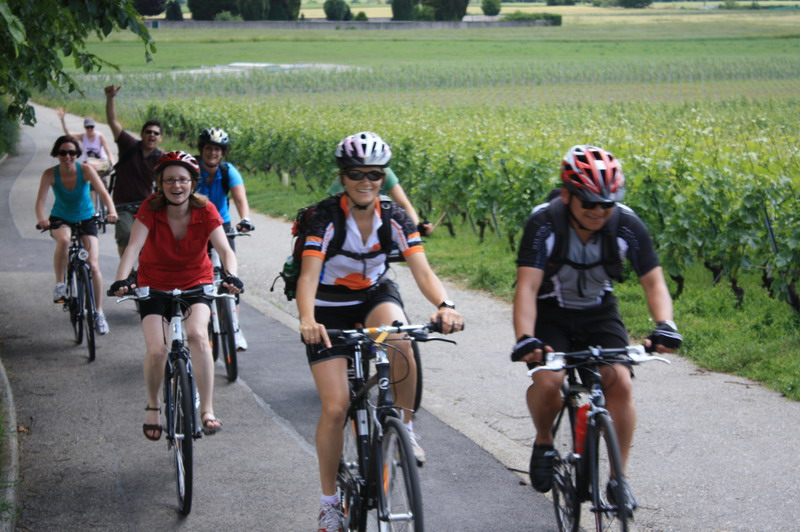 Group riding during a bike excursion