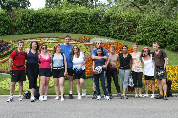 group photo in front of Flower Clock