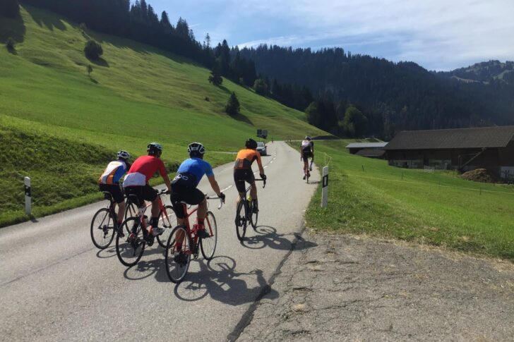 Road cycling on the Col des Mosses in Switzerland