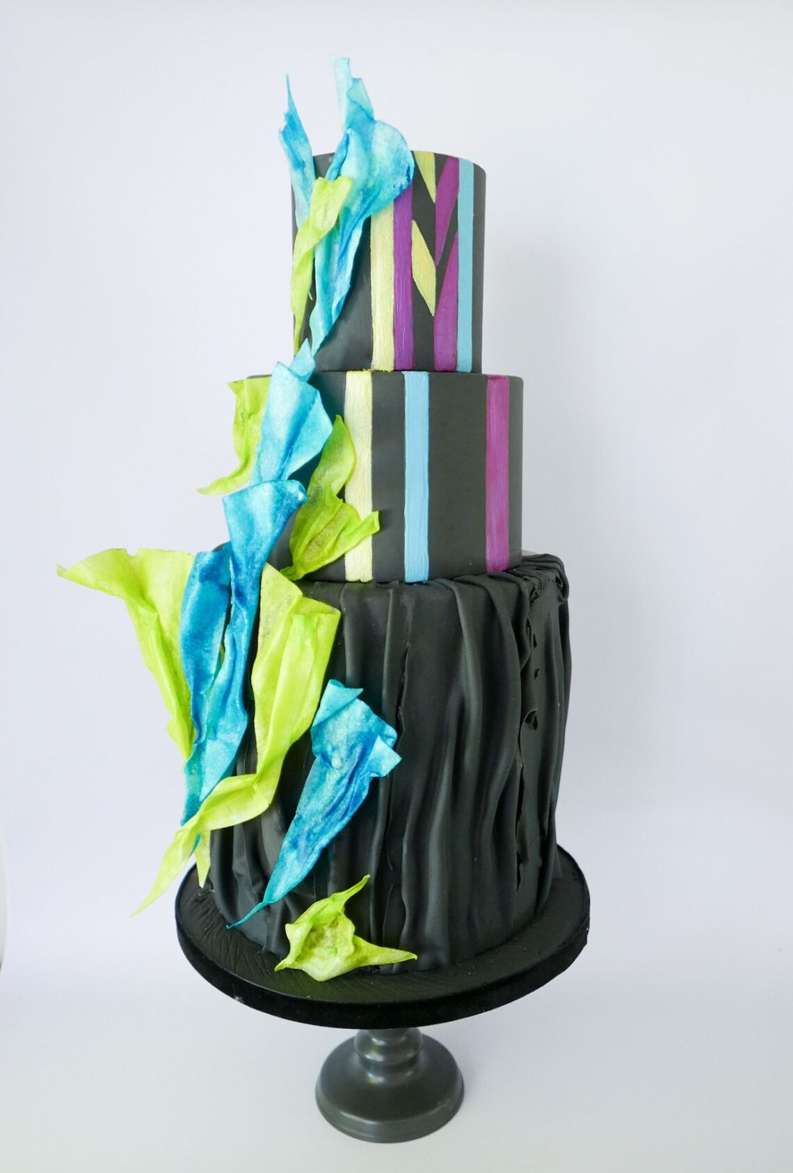 Black 3 Tier Art Cake