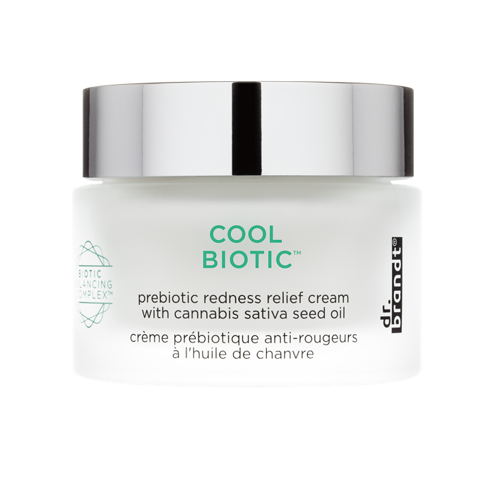 Cool biotic, a prebiotic redness relief cream with cannabis sativa seed oil