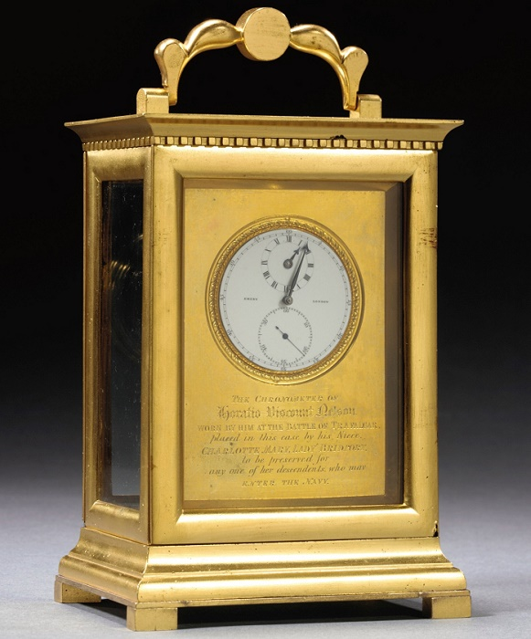 Nelson's watch was later set in an engraved gold clock casing by his niece Charlotte