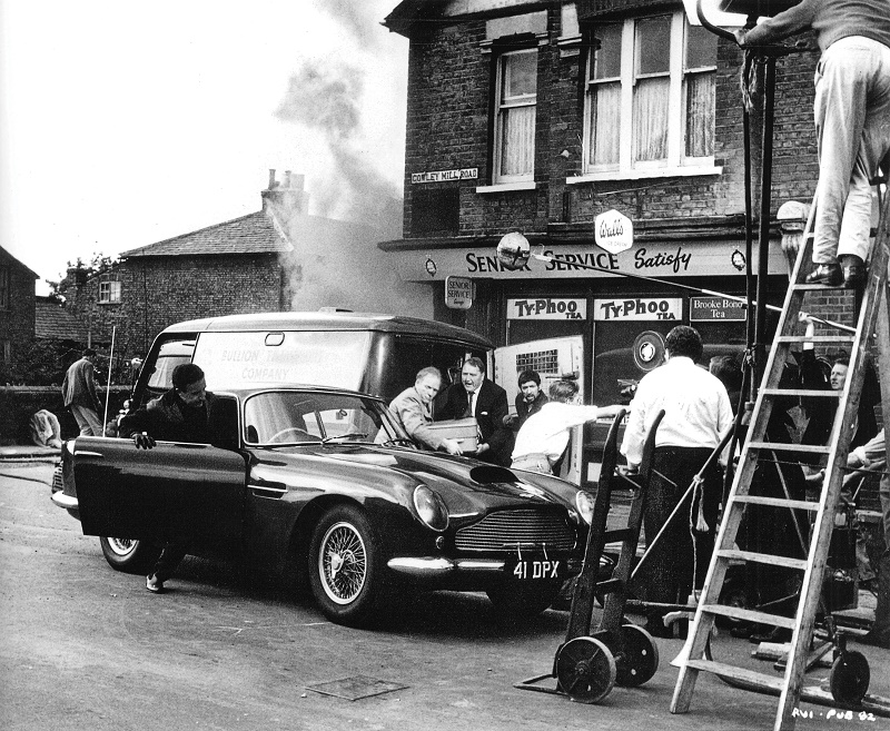 The Aston Martin DB4GT during filming of The Wrong Arm of the Law