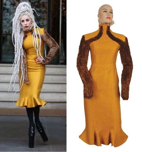 Gaga's custom golden mustard dress, sold for $12,402