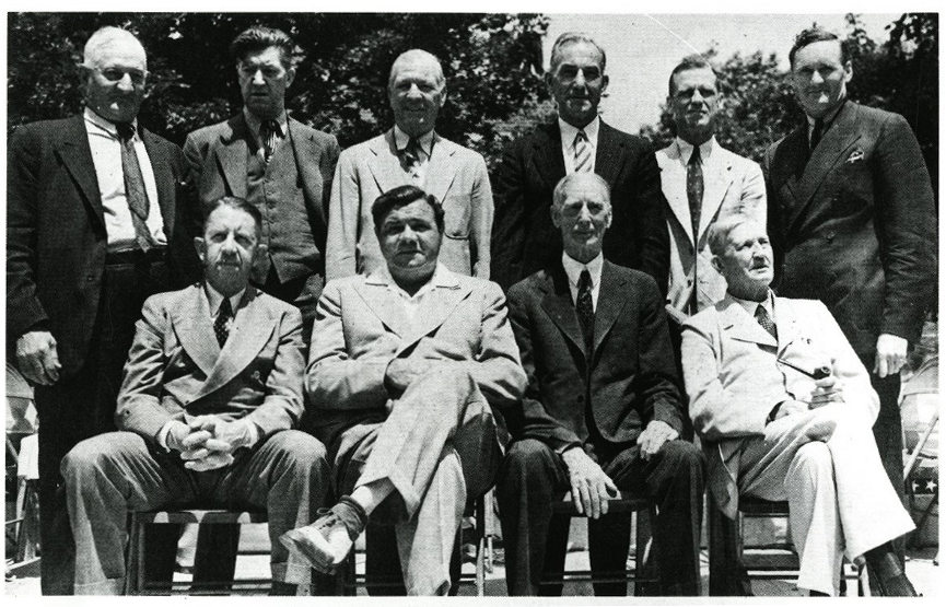 10 of the living inaugural inductees into the Baseball Hall of Fame in June 1939: Back (L-R) Honus Wagner, Grove Alexander, Tris Speaker, Nap Lajoie, George Sisler and Walter Johnson. Front (L-R) Eddie Collins, Babe Ruth, Connie Mack and Cy Young