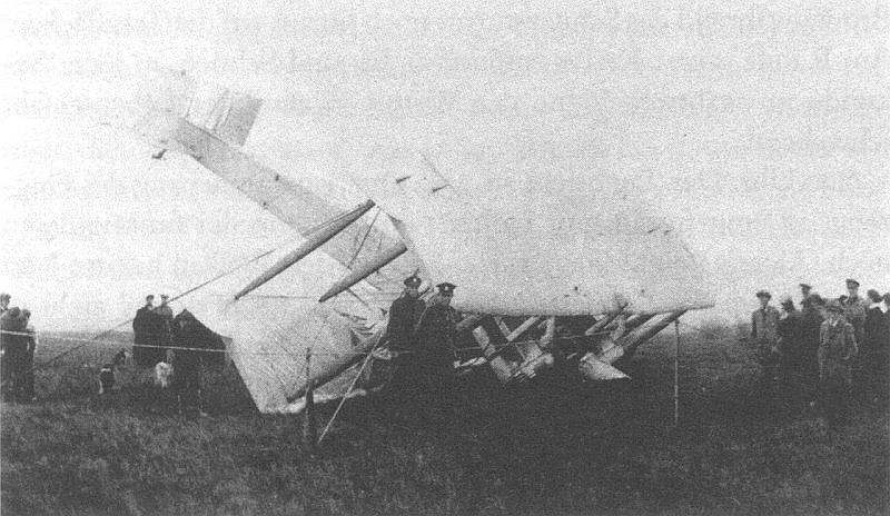 Alcock and Brown's plane, after it crash-landed in Derrygilmlagh Bog
