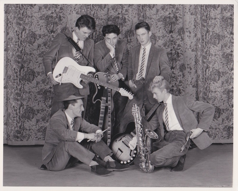 Bowie (bottom right) had originally joined the band in 1962 as a saxophone player