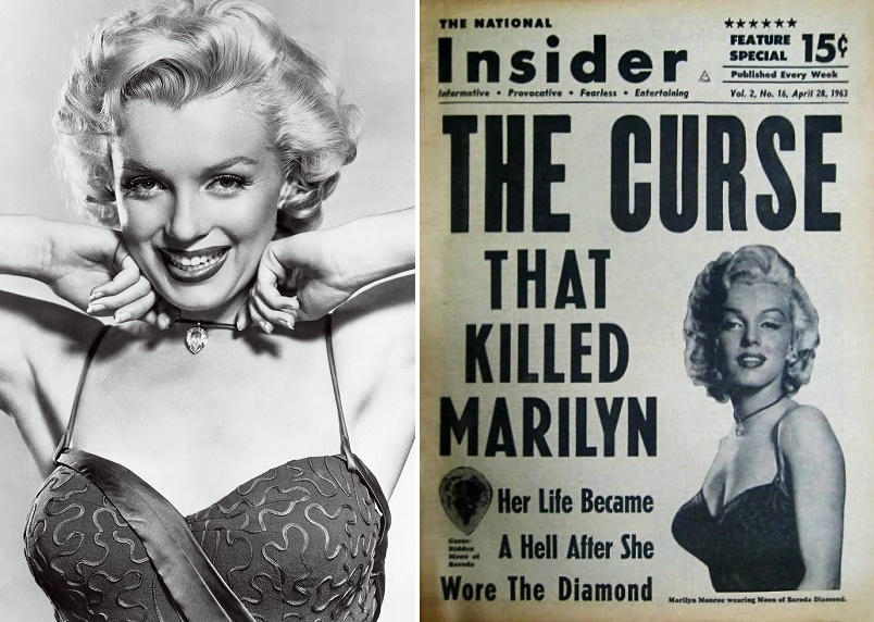 The diamond is said to be cursed, and a U.S tabloid even tried to blame Monroe's death on the stone.