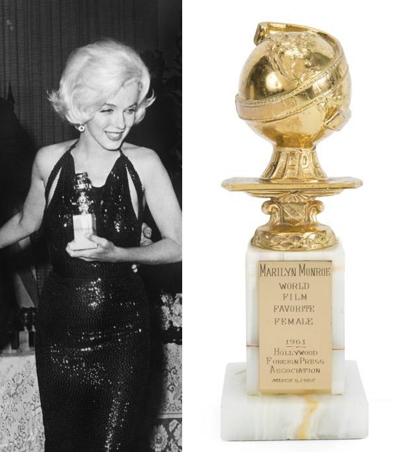 Monroe's 1961 Golden Globe award also sold during the auction for a world record $250,000