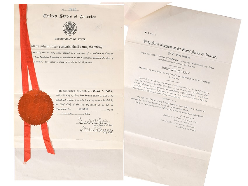 This 'true' copy of the 19th Ammendment, which changed the course of U.S history, is estimated to sell for up to $20,000