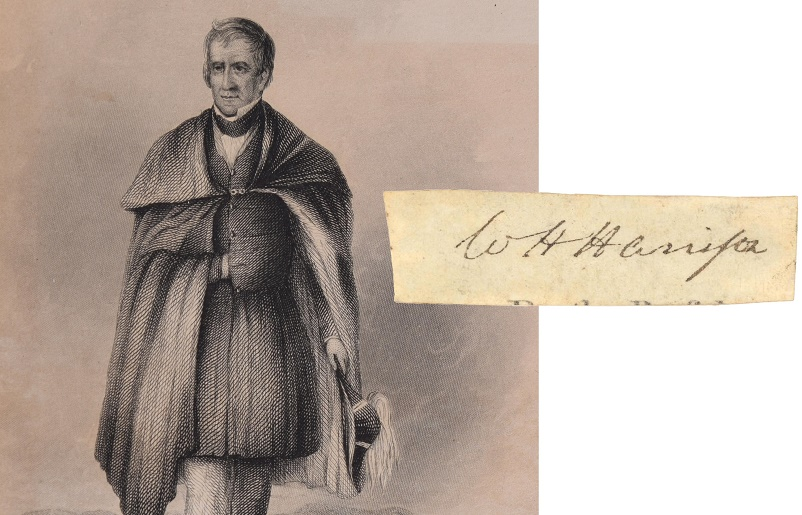The Presidential signature of William Henry Harrison is highly rare, as he died just one month after taking office in 1841